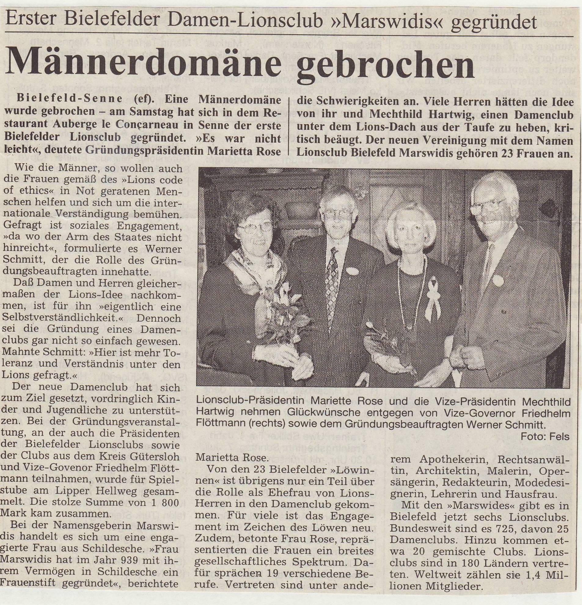Geschichte Lions Gütersloh Bielefeld